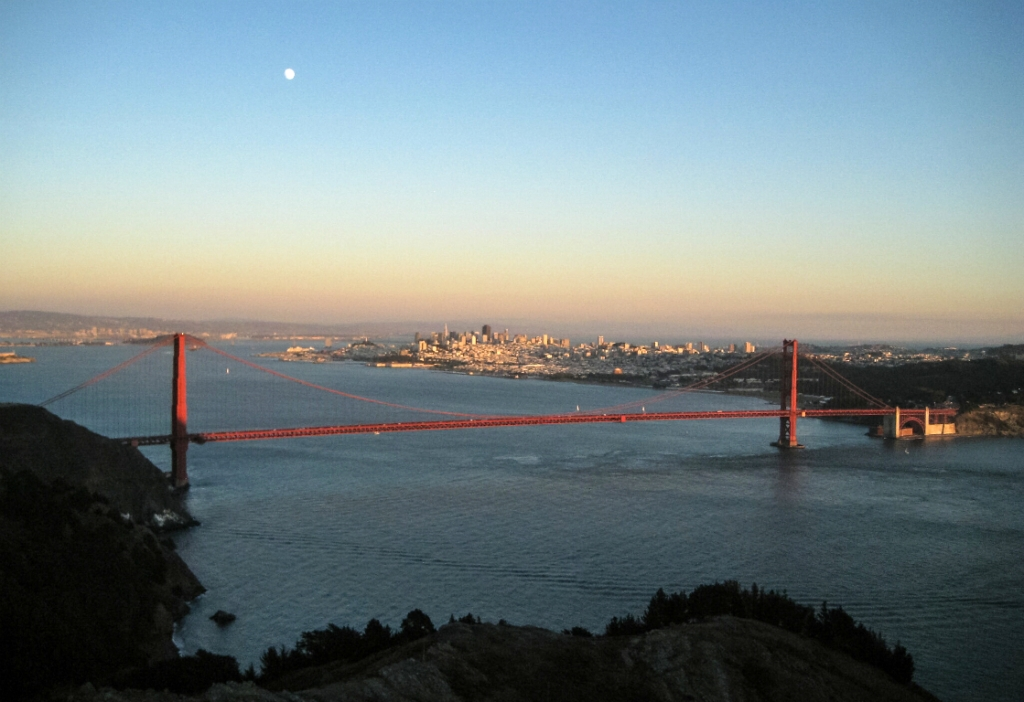 Moonrise Sunset, Golden Gate Bridge, San Francisco, California, United States of America