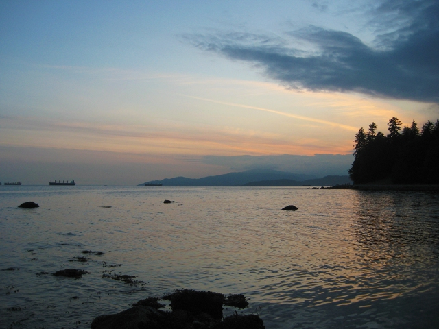 Sunset, English Bay from Stanley Park Seawall, Vancouver, British Columbia