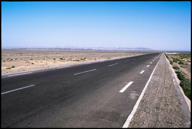 The highway between Liuyuanzhen and Hami, Gansu Province and Xinjiang Autonomous Region, The Peoples Republic of China