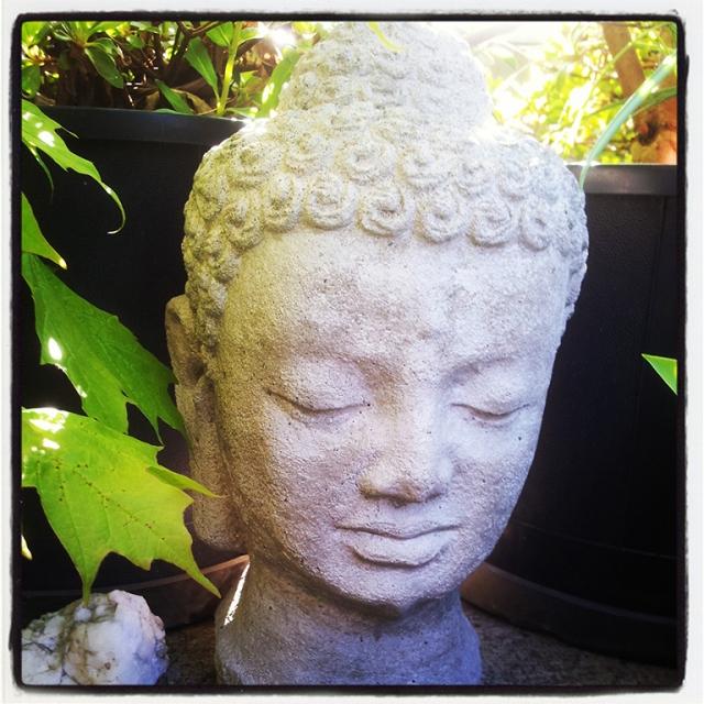 Buddha Bust, Friend's Garden, Port Coquitlam, British Columbia, Canada