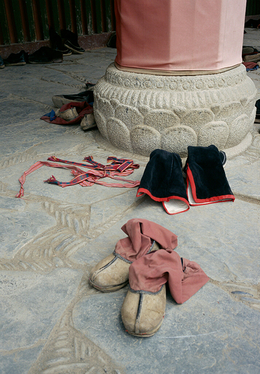 Monks boots outside a temple, Labrang Si Monastery, Xiahe, Gansu, China