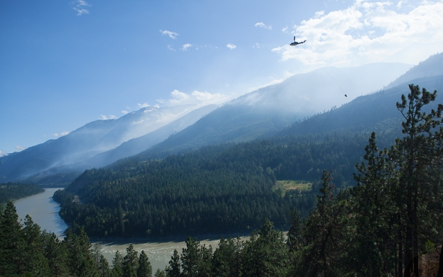 Helicopter Water Bomber, Lytton Forest Fire, British Columbia, Canada, 2015