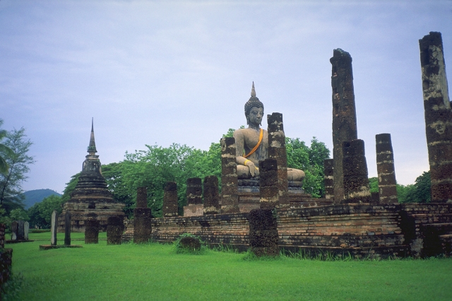 Ruins under reconstruction, Sukhothai, Thailand