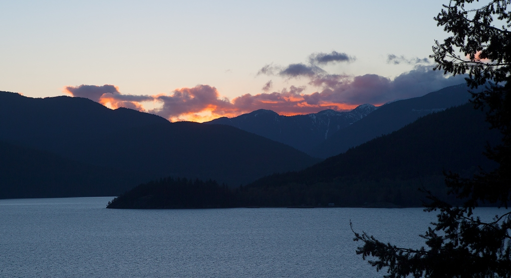 Sunset, Howe Sound, Sea to Sky Highway, British Columbia, Canada