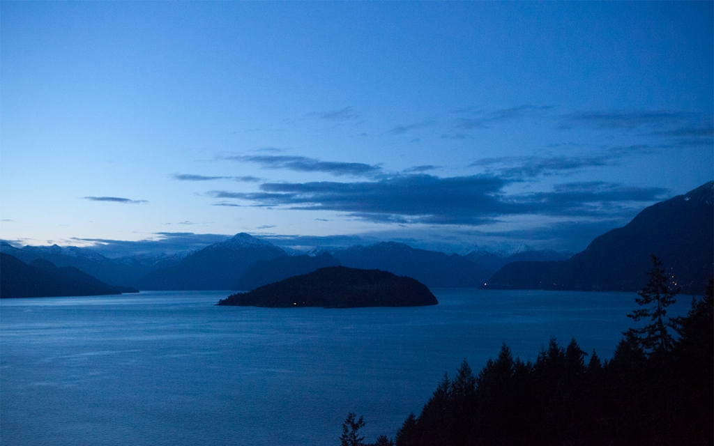 Bowyer Island Dusk, Howe Sound, Sea to Sky Highway, Horseshoe Bay, British Columbia, Canada