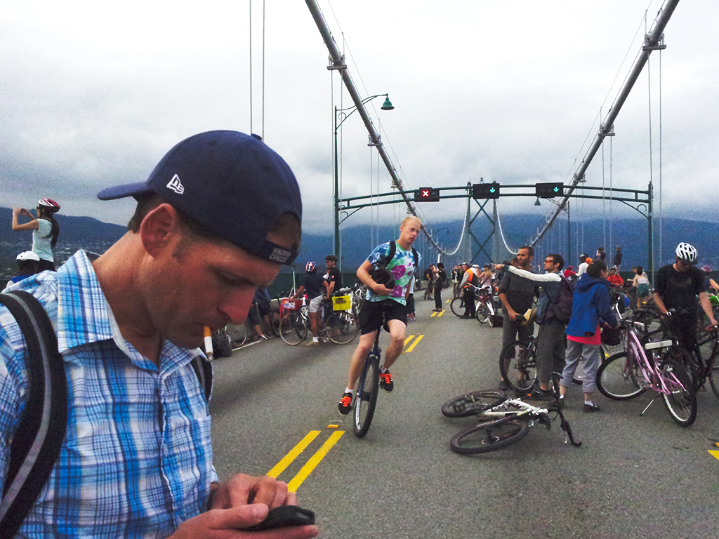 Critical Mass Ride, Lions Gate Bridge, Vancouver, British Columbia, Canada