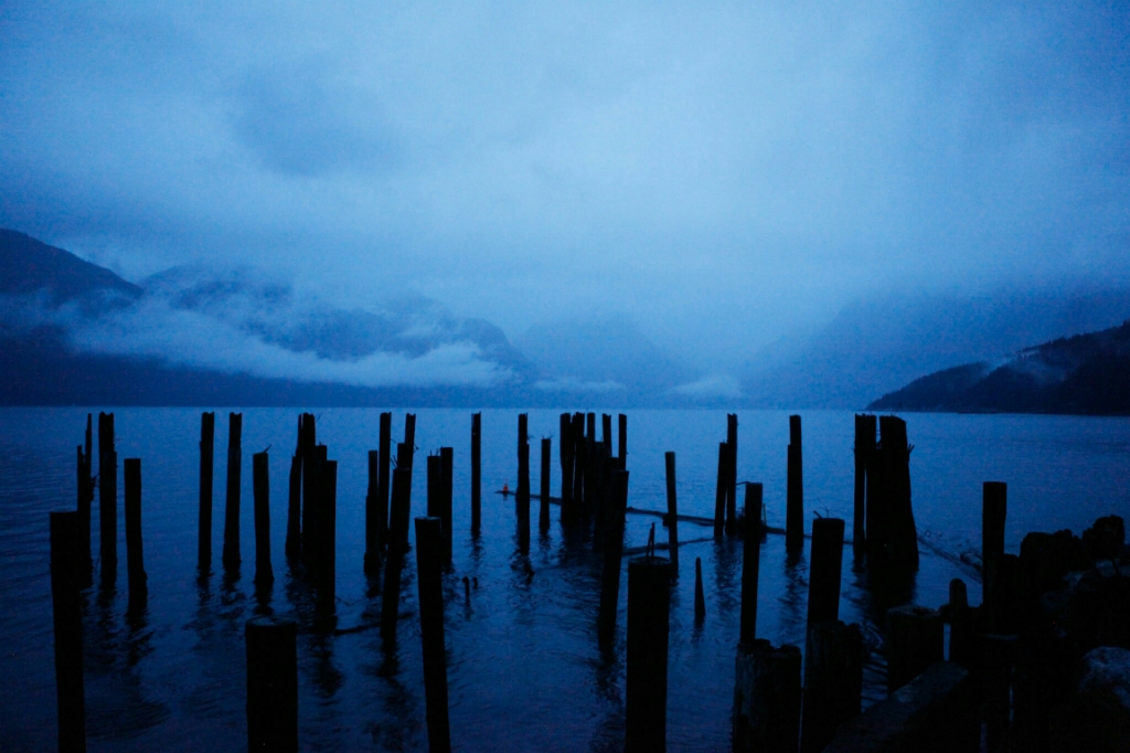 Dusk, Howe Sound, Sea to Sky Highway, Britannia Beach, British Columbia, Canada
