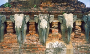 Stupa Base with Elephants, Sukhothai, Ancient Capitol of Thailand