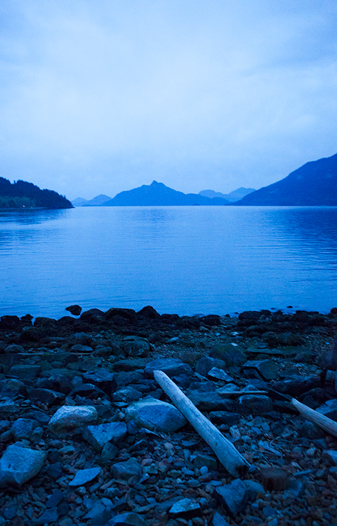 Twilit Shoreline, Howe Sound, Britannia Beach, British Columbia, Canada