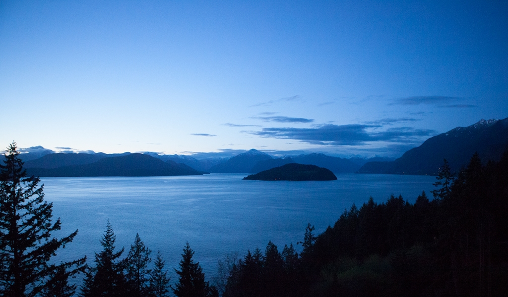 Dusk, Bowyer Island, Howe Sound, From Horseshoe Bay, Sea to Sky Highway, British Columbia, Canada