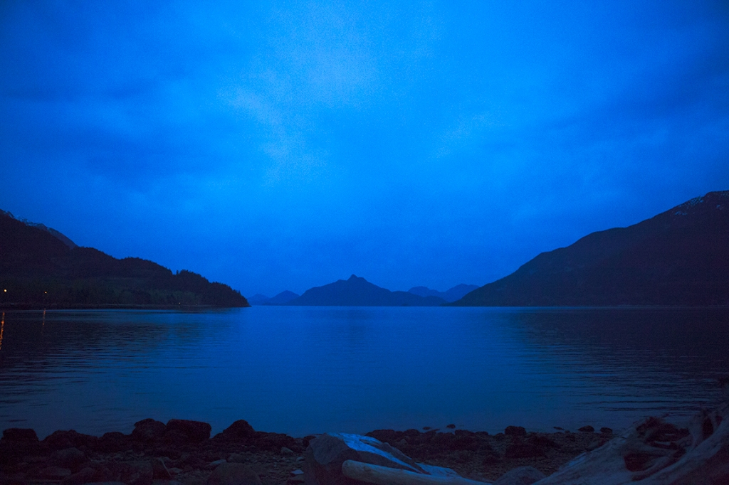 Twilight, Howe Sound, Britannia Beach, Sea to Sky Highway, British Columbia, Canada