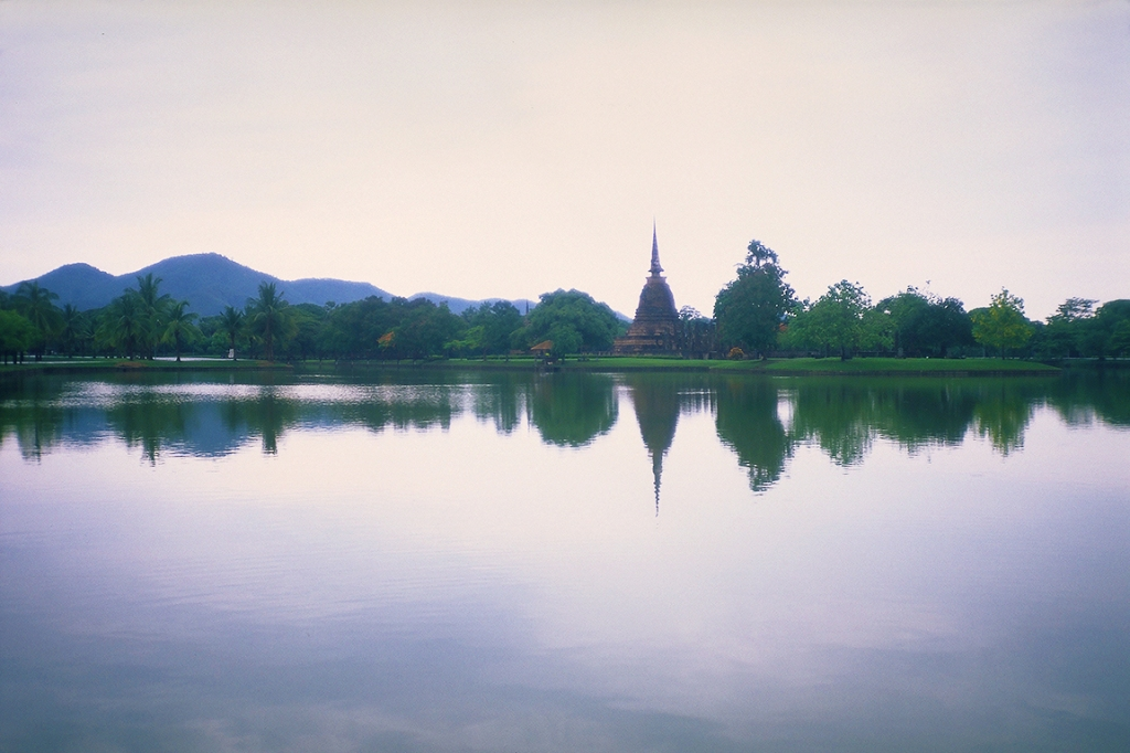 Stupa in Reflecting Pond, Sukhothai, Ancient Capitol of Siam, Thailand