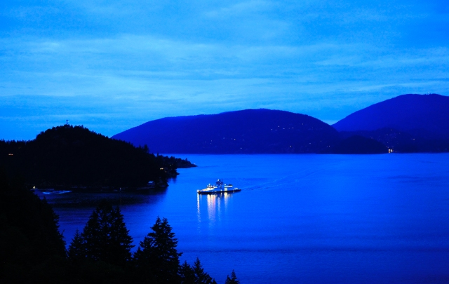 Bowen Island Ferry, At Dusk, Approaching Horseshoe Bay Terminal, West Vancouver, British Columia/
