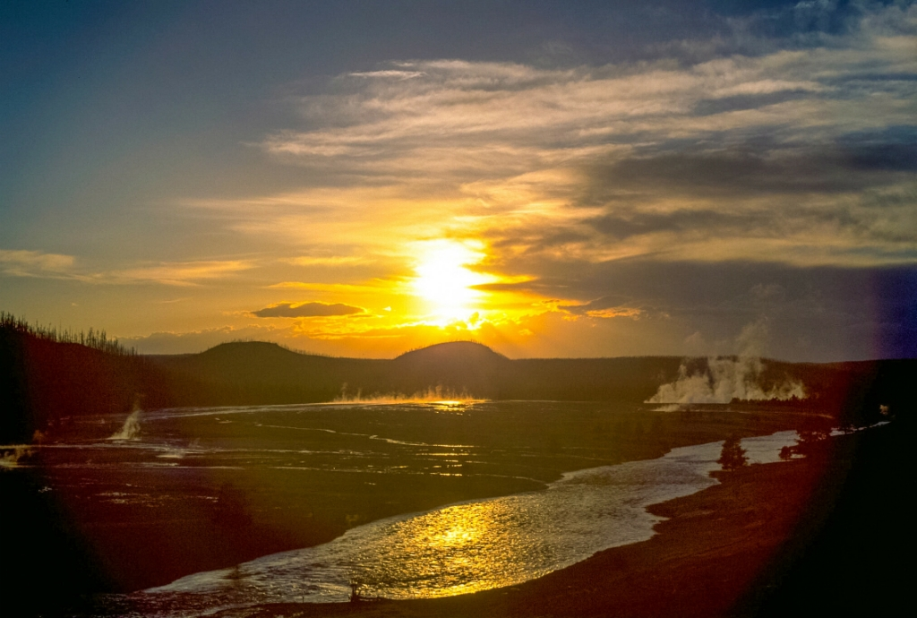 Sunset, Midway Geyser Basin, Yellowstone National Park, Wyoming, United States of America