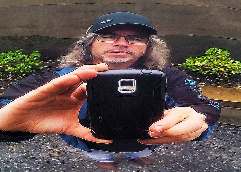 Selfie in Chrome Fountain, UBC Botanical Gardens, University of British Columbia, Vancouver, Canada
