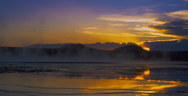 Golden Sunset, Midway Geyser Basin, Yellowstone National Park, Wyoming, United States of America