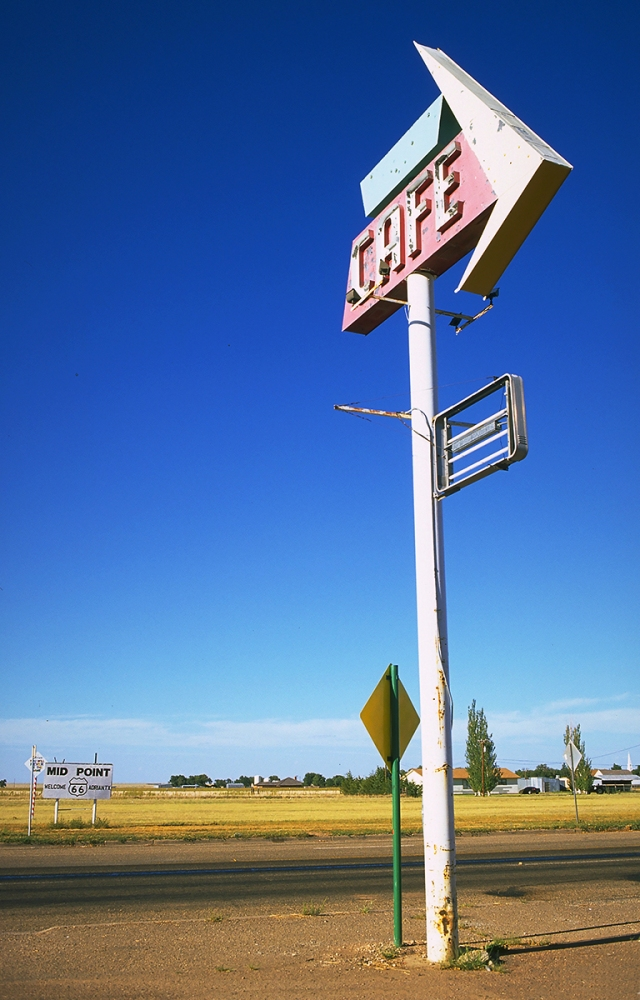 Cafe Sign, Mid-point Route 66, Adrian, Texas, United States of America
