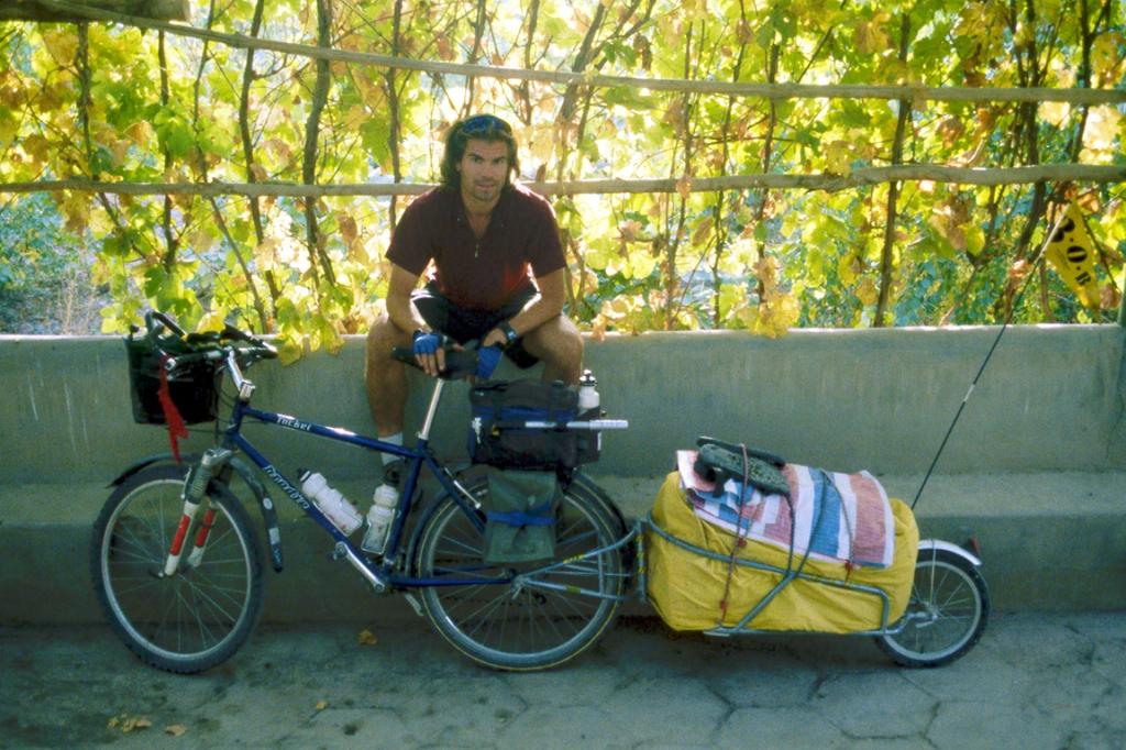 My Brodie and Me, Under the grape trellis, Seman Hotel, Kashgar, Xinjiang Autonomous Region, The People's Republic of China