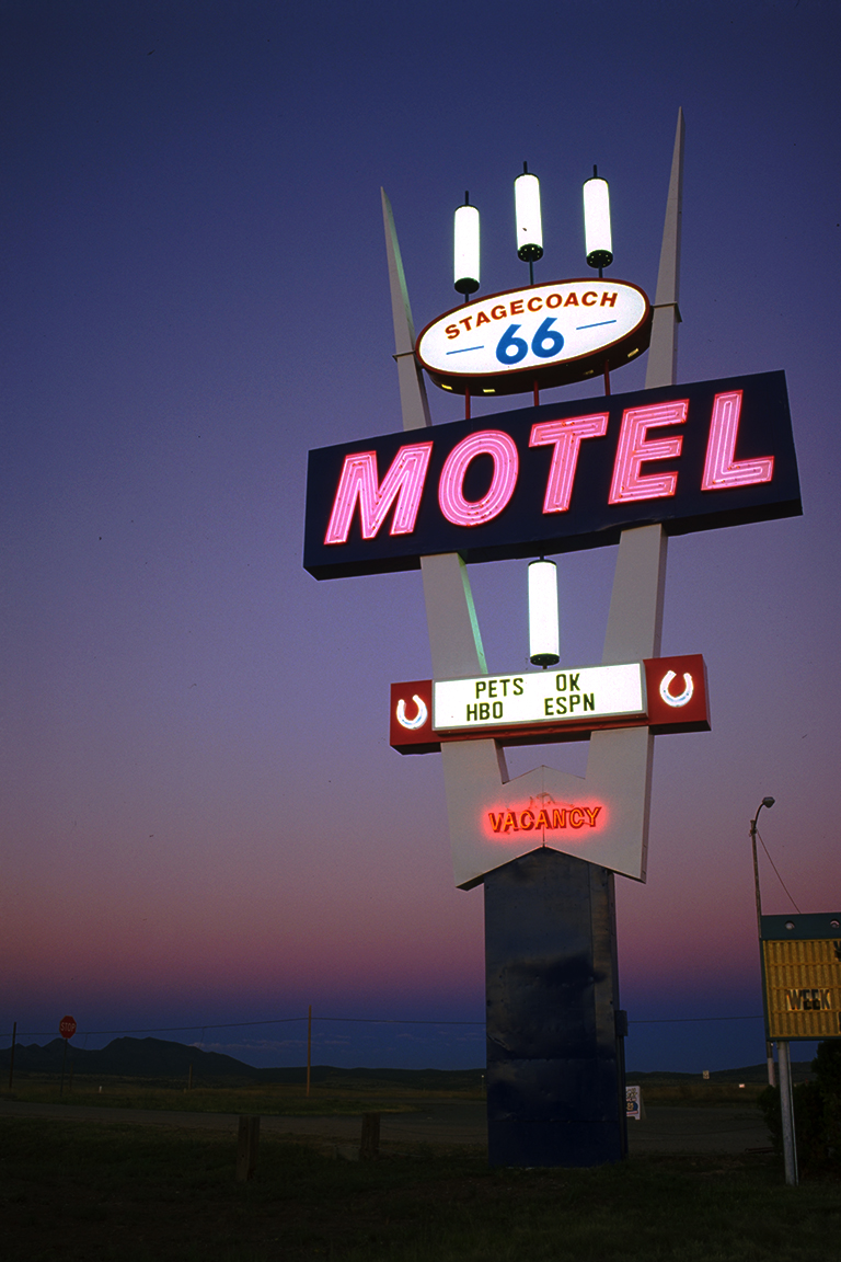 Neon at Dusk, Stagecoach Motel, Route 66, Seligman, Arizona, United States of America
