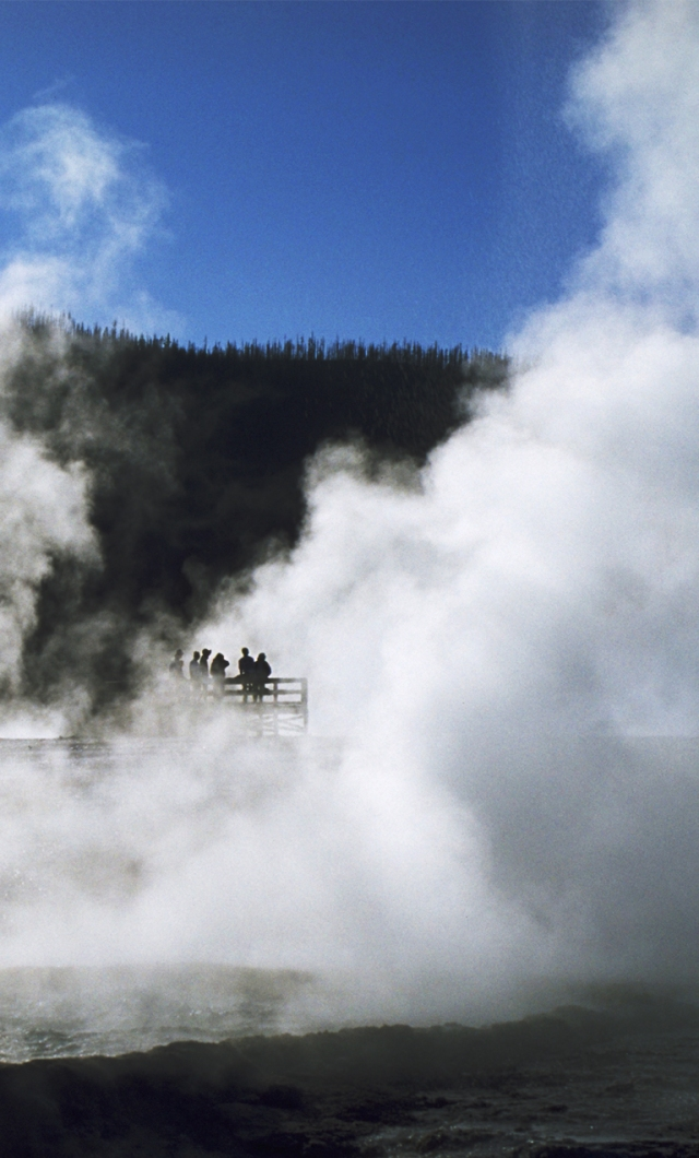 Vapour in the Sky, Black Sand Basin, Yellowstone National Park, Wyoming, United States of America