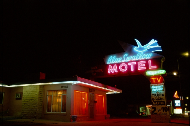 Neon and Night, Blue Swallow Motel, Route 66, Tucumcari, New Mexico