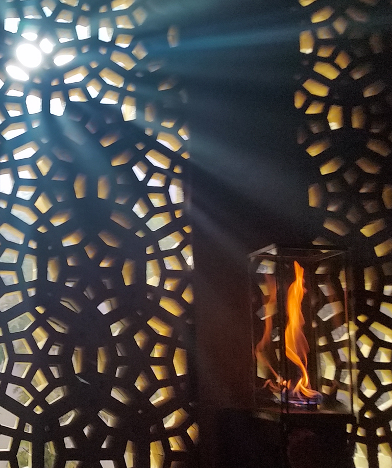 Fire & Light, Lattice Wal, Richmond, British Columbia, Canada