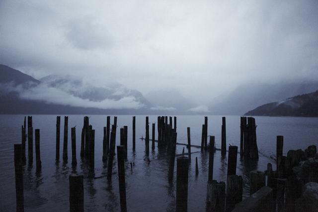 Derelict Pier, Howe Sound, Sea to Sky Highway, Britannia Beach, British Columbia, Canada