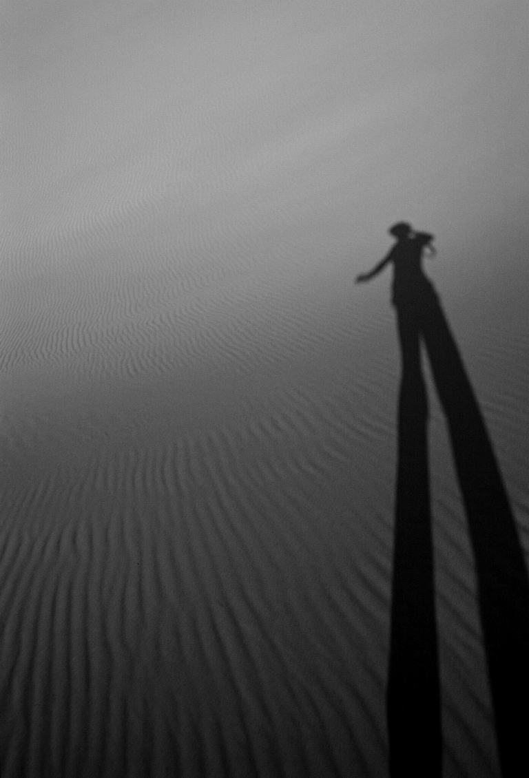 Shadow in the Sand, Ming Sha Shan, The Mountains of Singing, Sands, Dunhuang, Gansu Province, The People's Republic of China