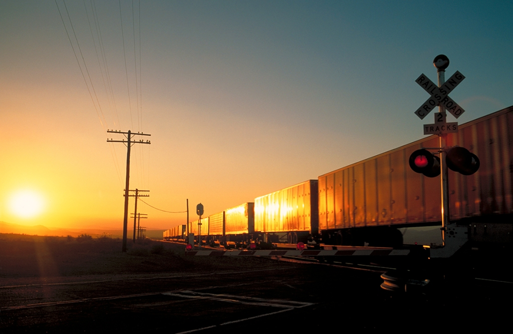 Railroad Crossing, Route 66, Mojave Desert, California, United States of America