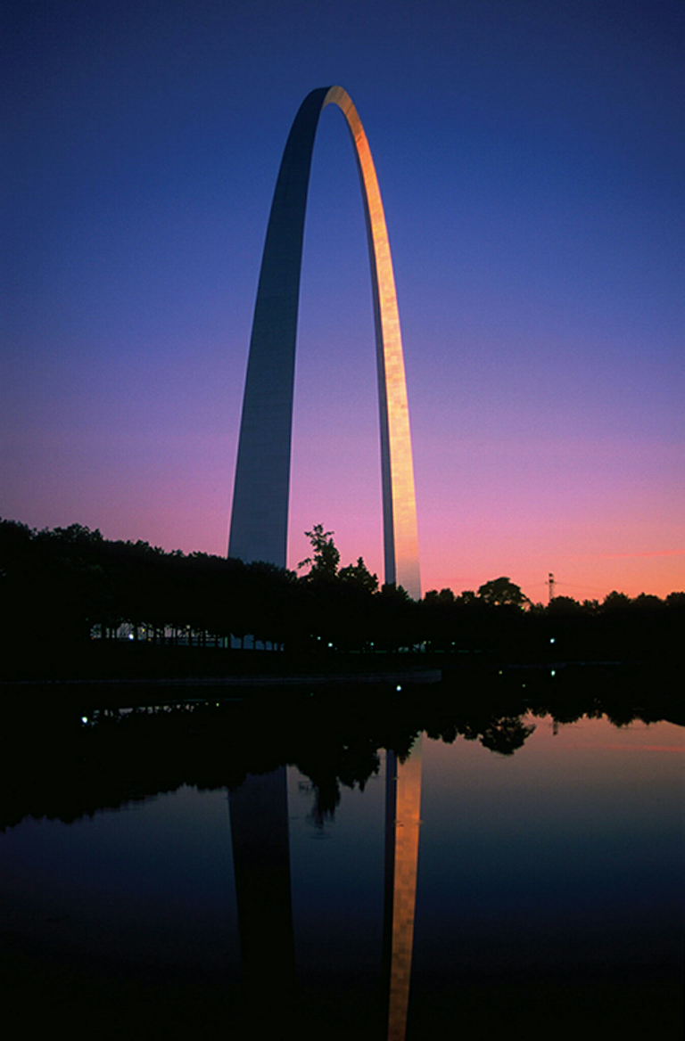 Sunset past; dusk encroaching, The Gateway Arch, St. Louis, Missouri, United States of America
