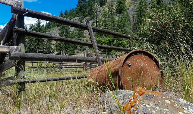 Oil Drum & Corral, Marron Valley. Highway 3A, British Columbia, Canada