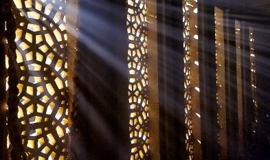 Light through the Lattice Wall, RIchmond, British Columbia, Canada