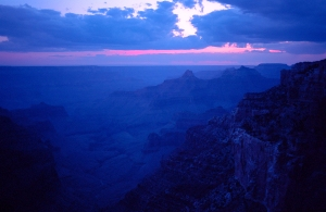Deep Blue Sunset, Point Imperial, North Rim, Grand Canyon National Park, Arizona, United States of America