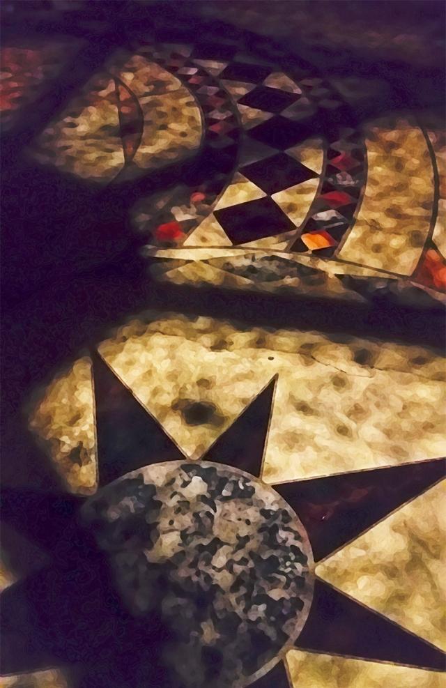 Stars and the Moon, Painted Vinyl Floor, Richmond, British Columbia, Canada