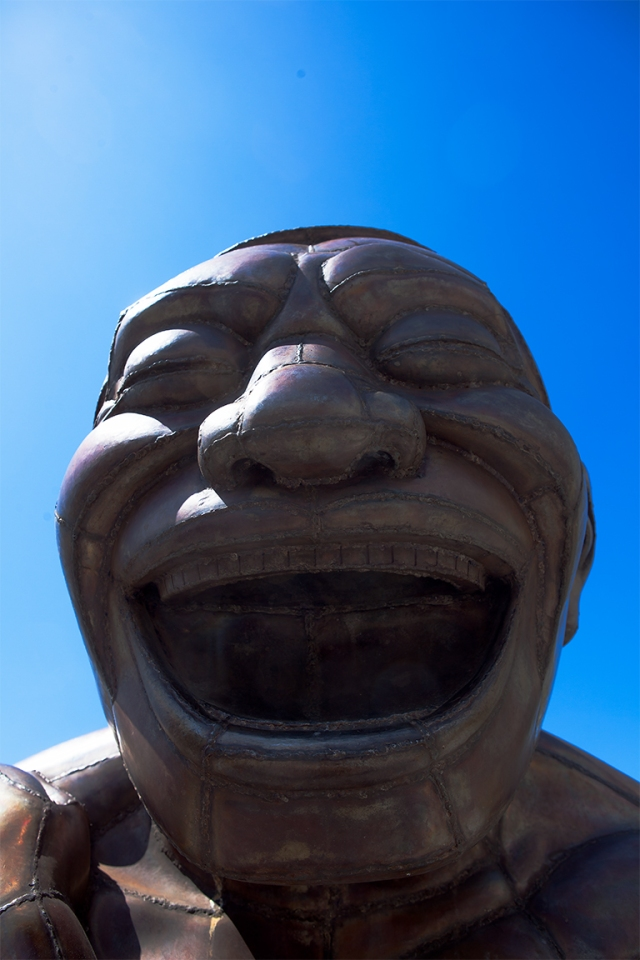 A-maze-ing Laughter Sculpture by Yue Minjun, Morton Park, Vancouver, British Columbia, Canada,