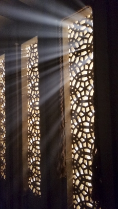 Light streaming through lattice wall, Richmond, British Columbia, Canada