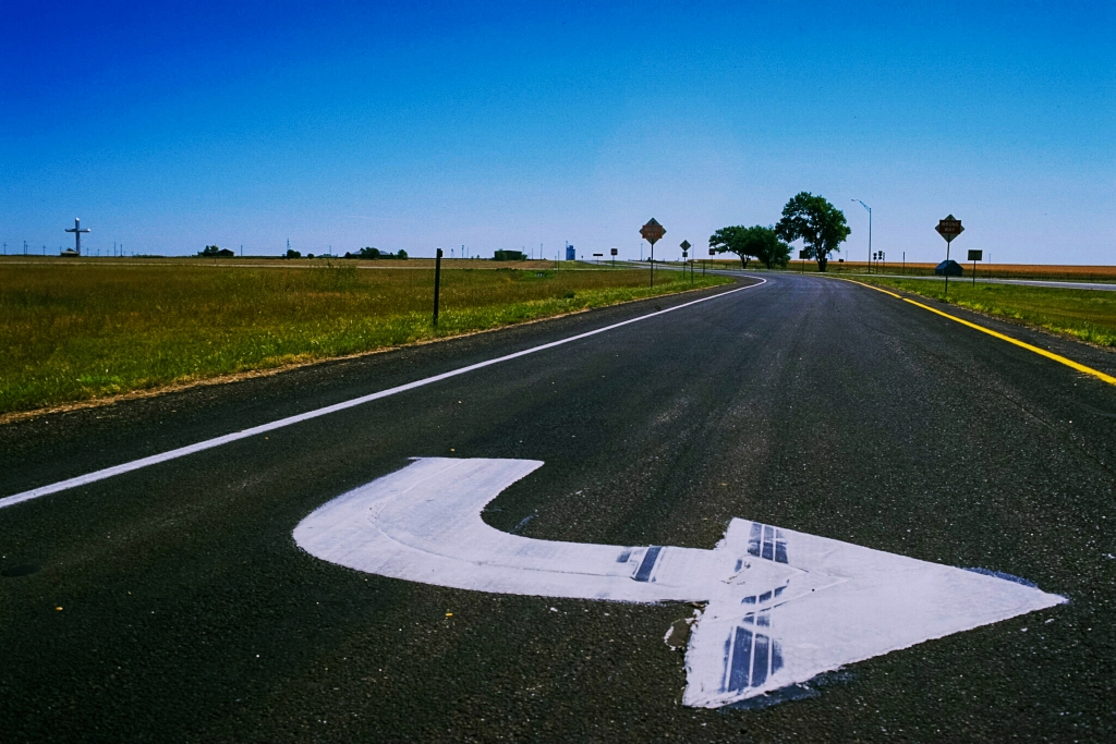 Sudden Redirection, Route 66, Near Amarillo, Texas, United Slates of America