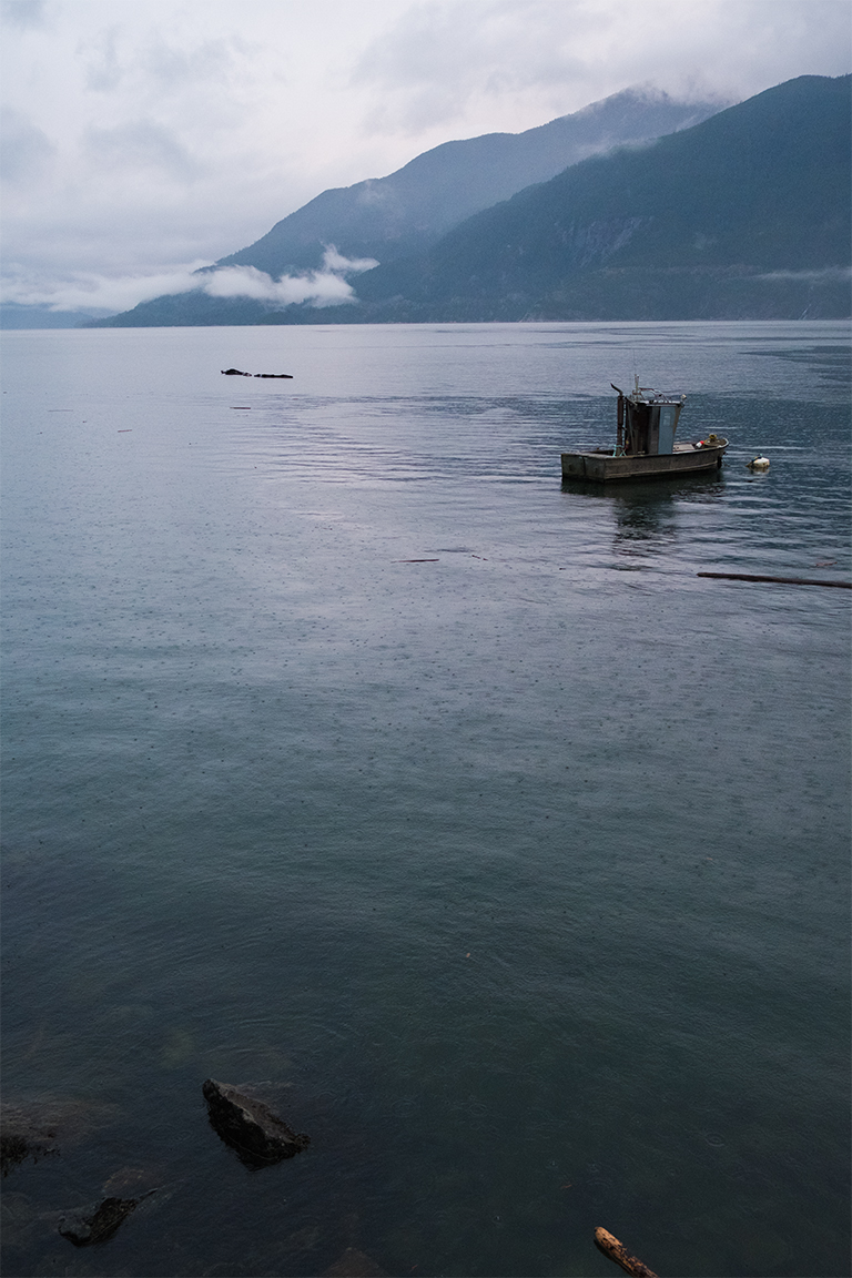 Boat Moored in the Sound, Howe Sound, Sea to Sky Highway, British Columbia, Canada
