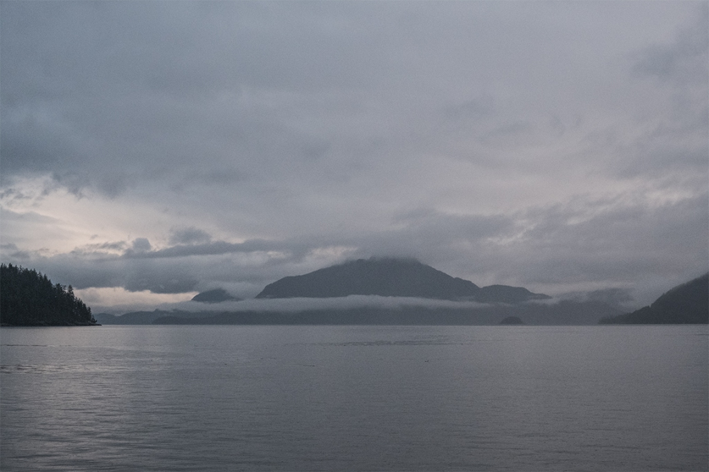 Island Cradled in the Clouds, Howe Sound, Sea to Sky Highway, From Britannia Beach, British Columbia, Canada