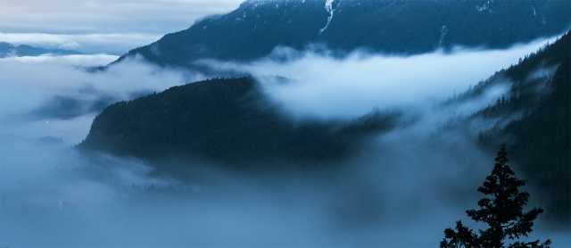 Fog in the Valley, Cheakamus River Valley, From Tantalus Lookout, Sea to Sky Highway, Near Squamish, British Columbia, Canada