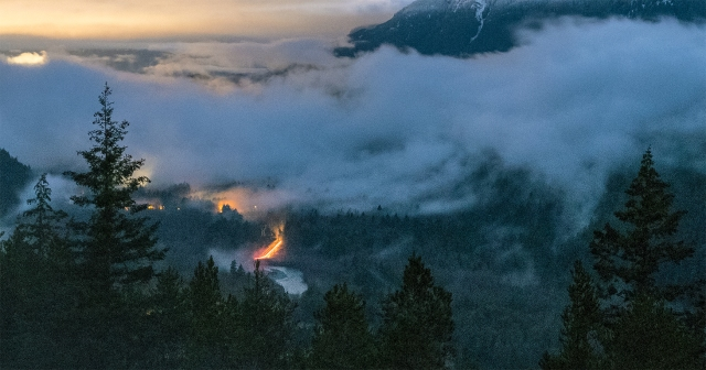 Light in the Darkness, Squamish River Valley, Tantalus Lookout, Sea to Sky Highway, Near Squamish, British Columbia, Canada