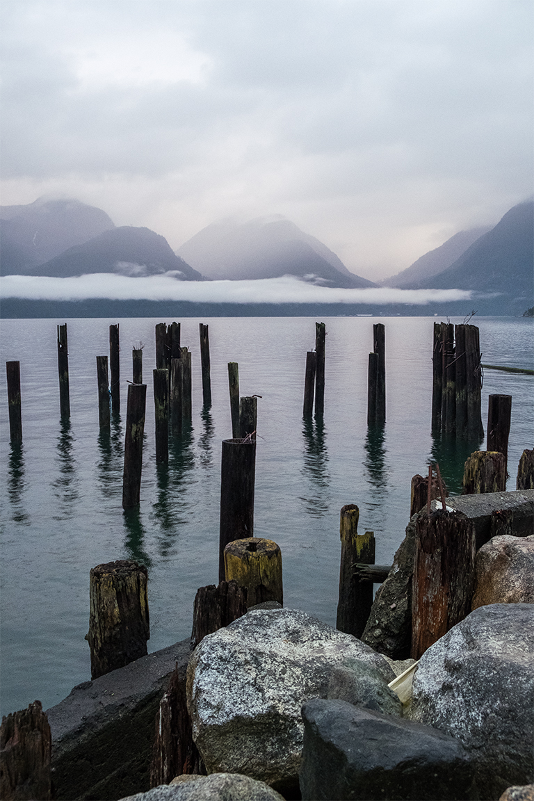 Mountains and Pilings, Howe Sound, Sea to Sky Highway, Britannia Beach, British Columbia, Canada