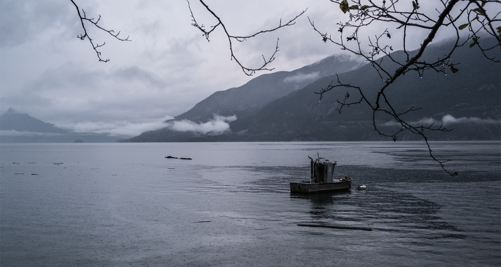 Moored Boat in the Rain, Howe Sound, Sea to Sky Highway, Britannia Beach, British Columbia, Canada
