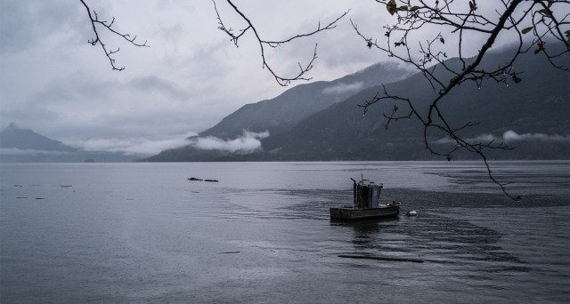 Moored Boat in the Rain, Howe Sound, Sea to Sky Highway, Britannia Beach, British Columbia, Canada