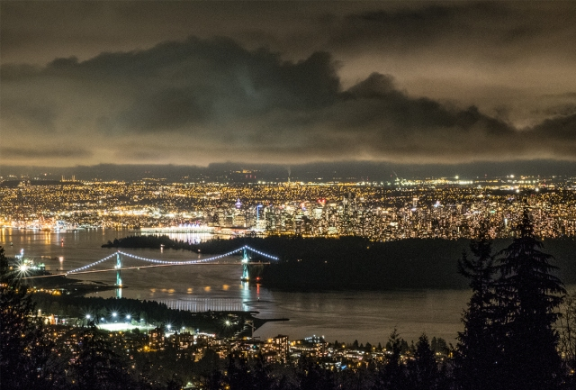 Vancouver Night, From Cypress Mountain Lookout, West Vancouver, British Columbia, Canada