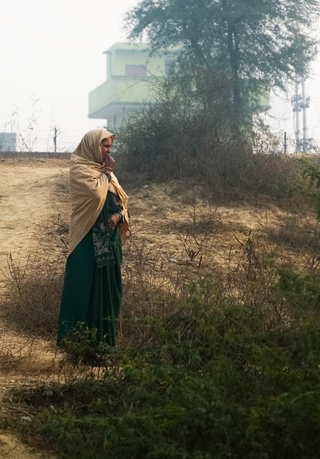 Woman Beside the Tracks, Delhi to Agra Train, Uttar Pradesh, India