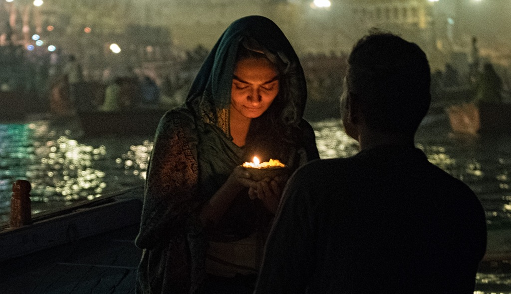 Woman and Candle, Ganga (Ganges) River, Varanasi, Uttar Pradesh, India