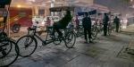 Bicycle Rickshaw Lineup, Lajpat Nagar Metro Station, New Delhi, India