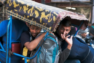 Locals taking a bicycle rickshaw, Chandni Bazaar, Old Delhi, India