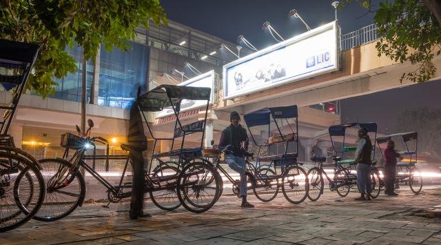 Bicycle Rickshaw Stand, Outside Lajpat Nagar Metro Station, New Delhi, India